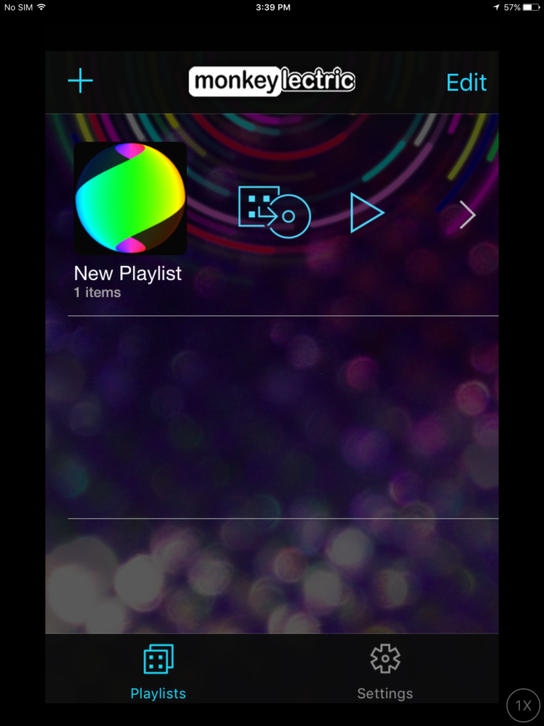 9) Tap the icon that looks like a square pointing to a circle to render your playlist.